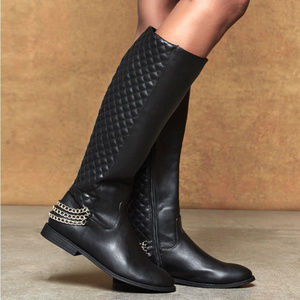 Quilted Low Heel Knee Boots with Chains Wide Calf